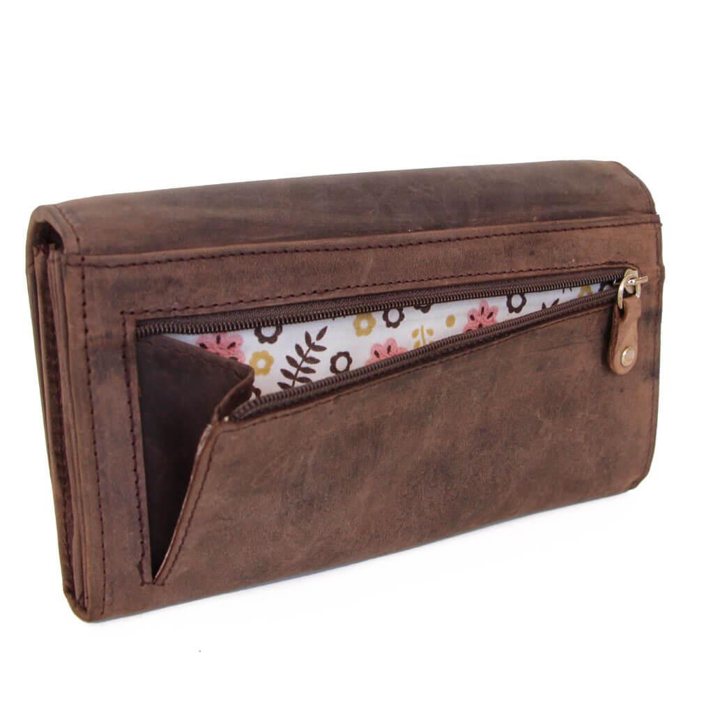 JOY ALMADIH Leder Damen Portemonnaie Dunkelbraun Vintage