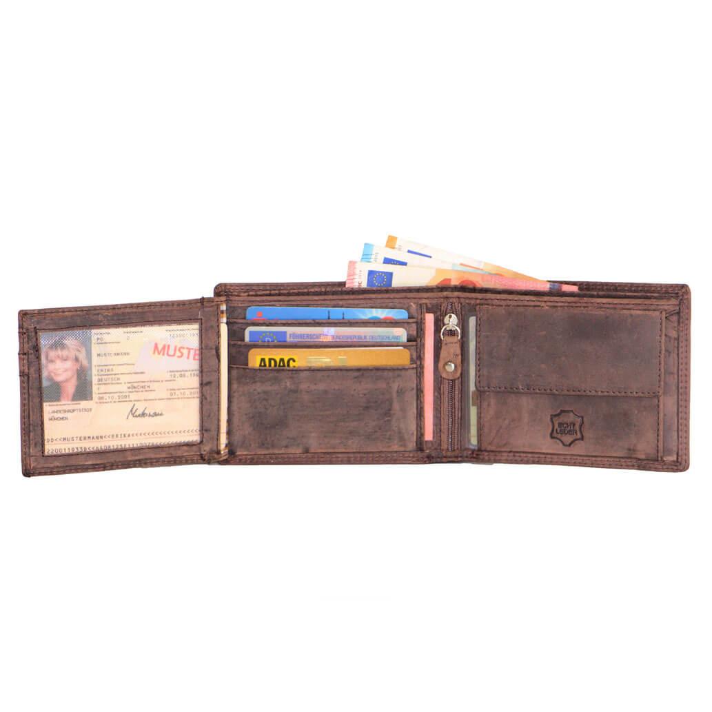 P1Q ALMADIH Leder Portemonnaie Braun Vintage