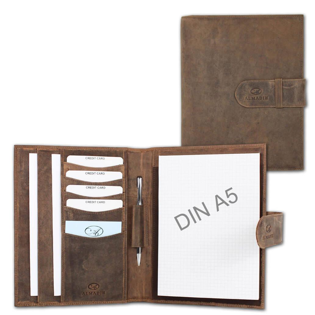 ALMADIH Leder A5 Schreibmappe Braun Vintage