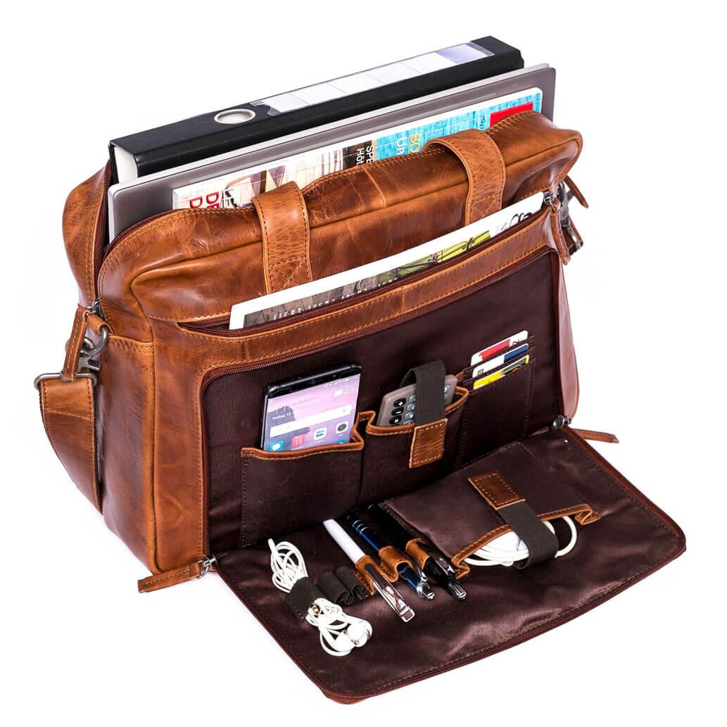 BRUNO ALMADIH Leder Laptoptasche Braun Deluxe