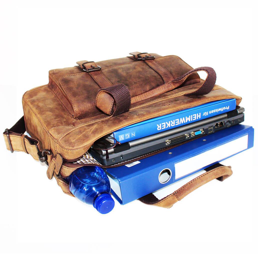 JAN ALMADIH Leder Laptoptasche Braun Vintage