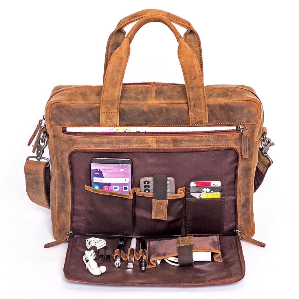BRUNO ALMADIH Leder Laptoptasche Braun Vintage