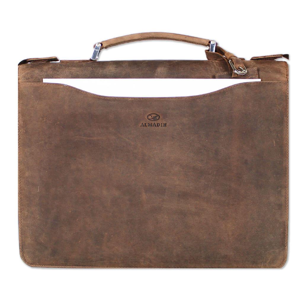 ALMADIH Leder A4 Aktenmappe mit Reißverschluss Braun vintage