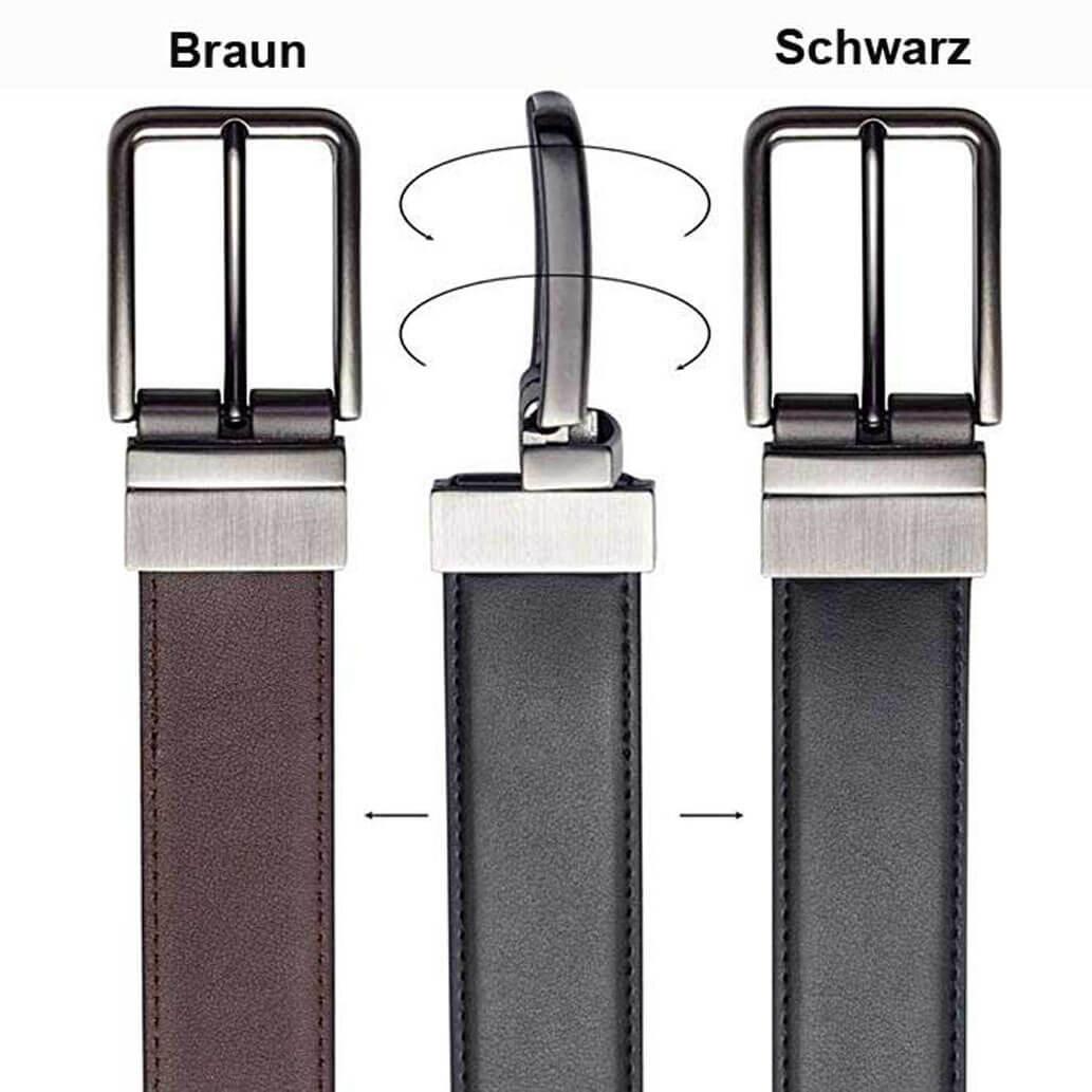 G2-SB ALMADIH Wendegürtel aus Rindsleder 2 Farbig Schwarz und Braun