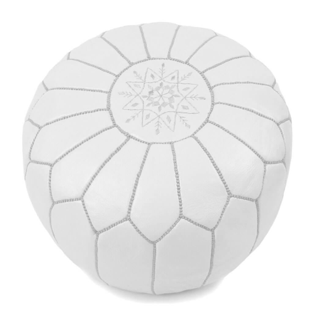 Leder-Sitzkissen Weiß ALMADIH Pouf