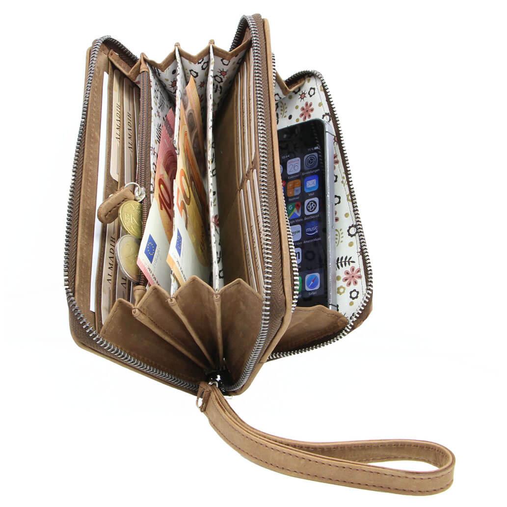 AVERY Leder Damen Portemonnaie RFID Clutch Braun Vintage