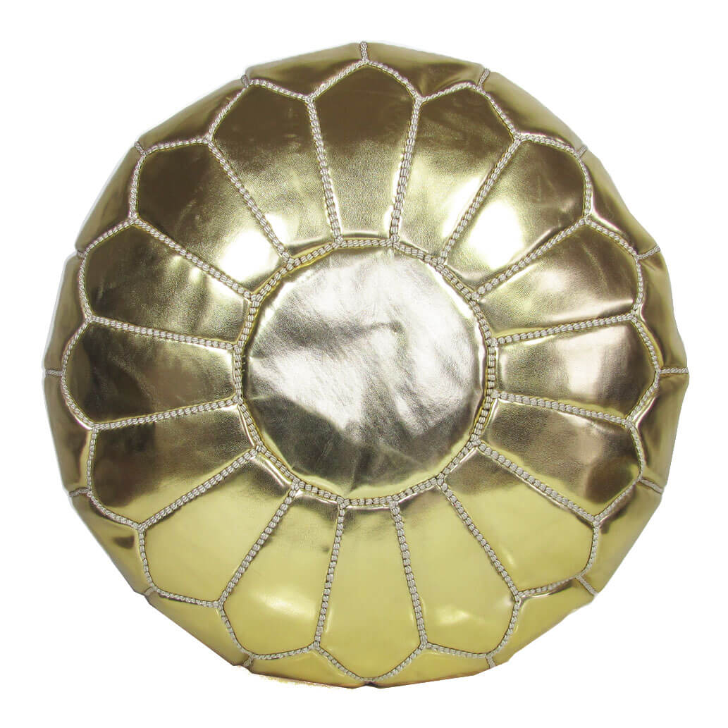 Leder-Sitzkissen Gold ALMADIH Pouf