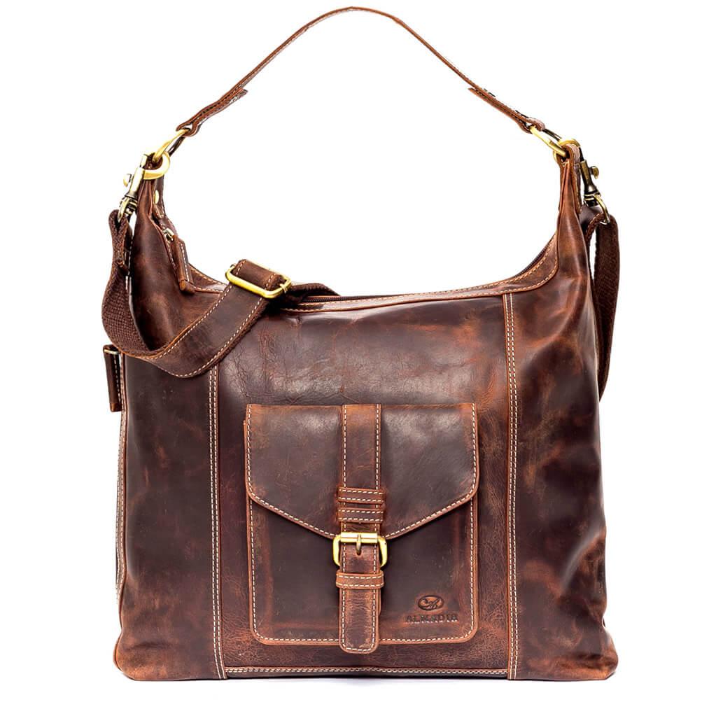 SARA ALMADIH Leder Damentasche Braun Vintage