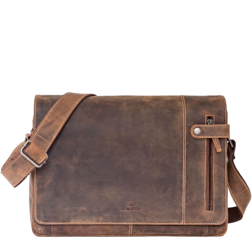 DYLAN ALMADIH Leder Laptoptasche Braun Vintage