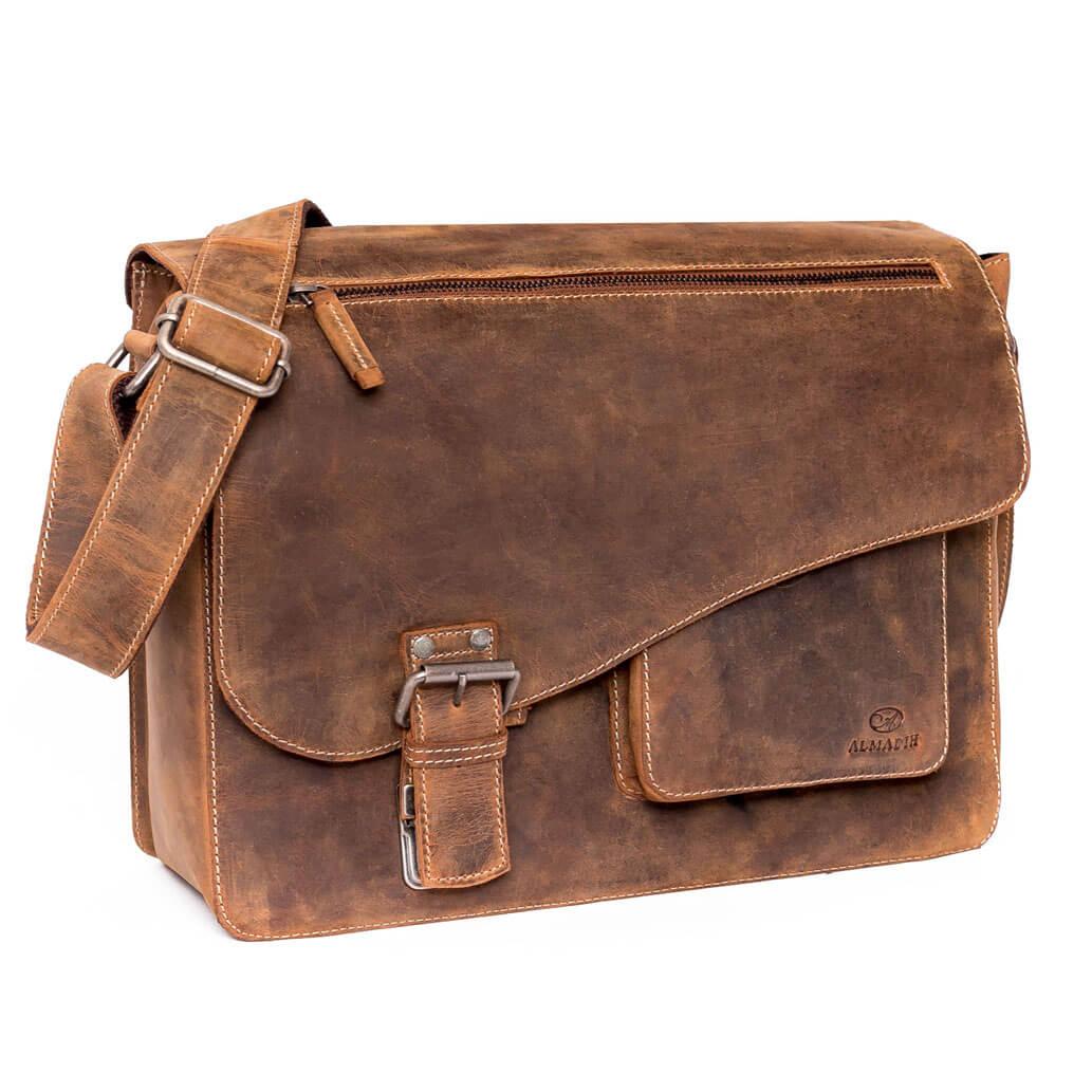 JON No2 ALMADIH Leder Messenger Braun Vintage