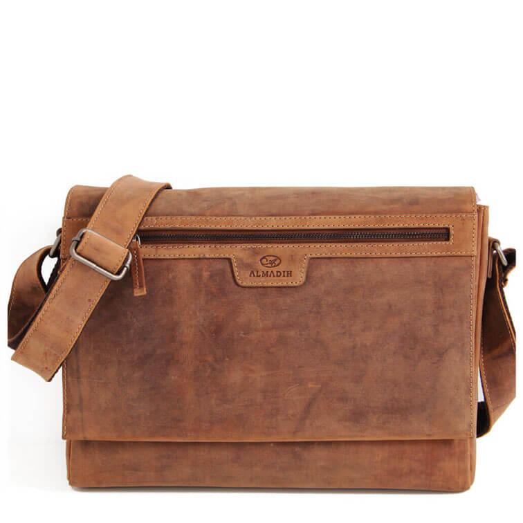 MIO ALMADIH Leder Messenger Braun Vintage