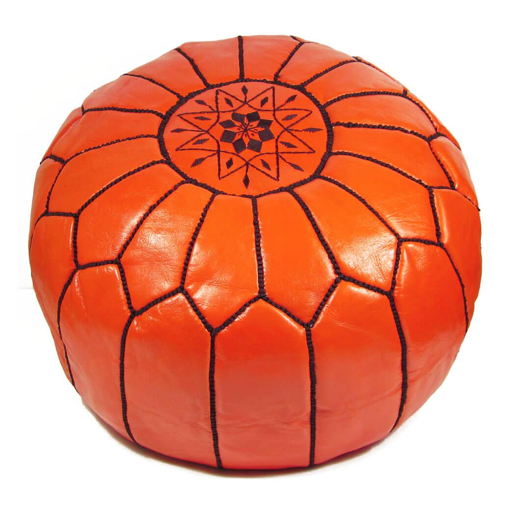 Leder-Sitzkissen Orange ALMADIH Pouf