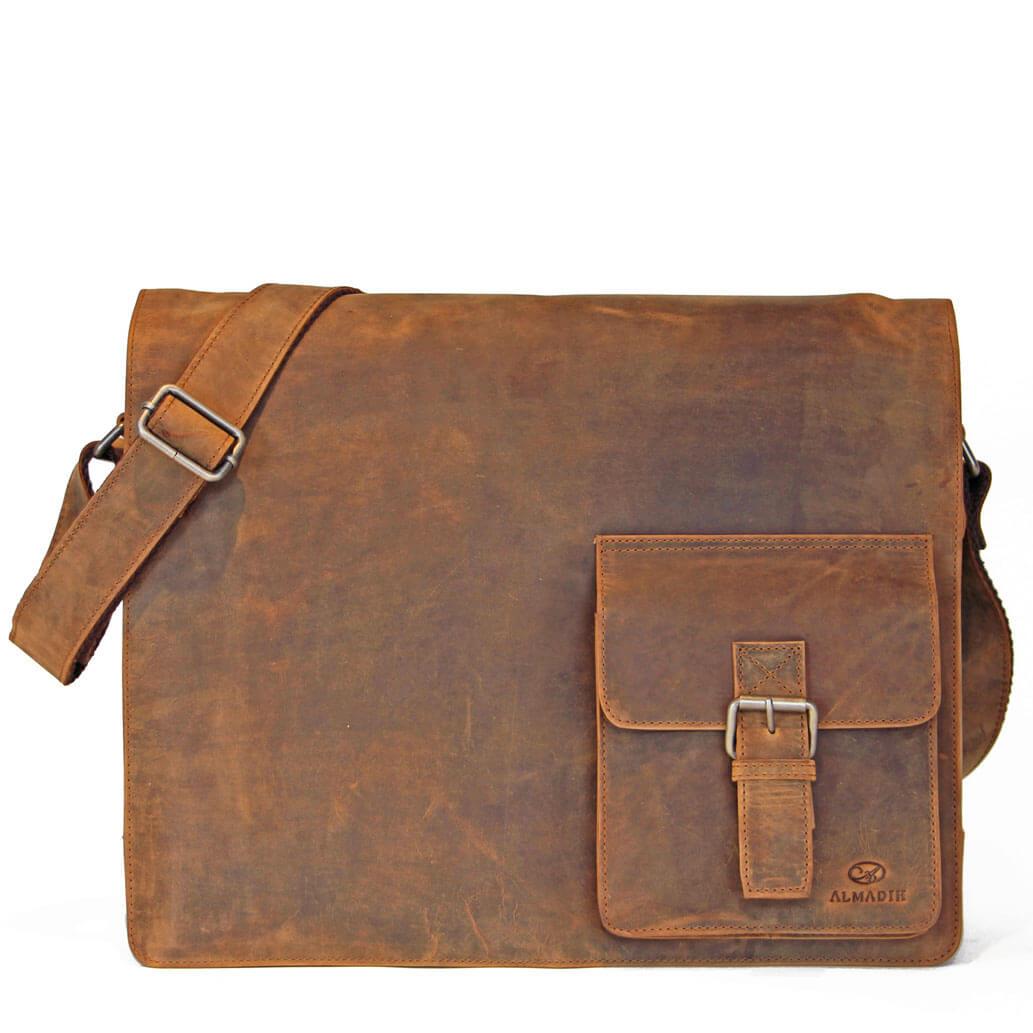 LOGAN ALMADIH Leder Laptoptasche  Braun Vintage