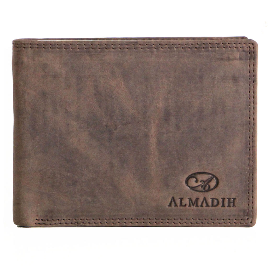 P0Q ALMADIH Leder Slim Portemonnaie Braun Vintage