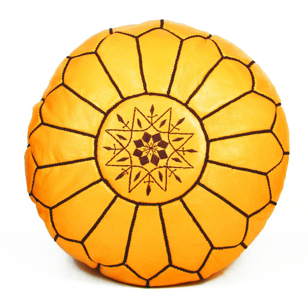 Leder-Sitzkissen Gelb ALMADIH Pouf