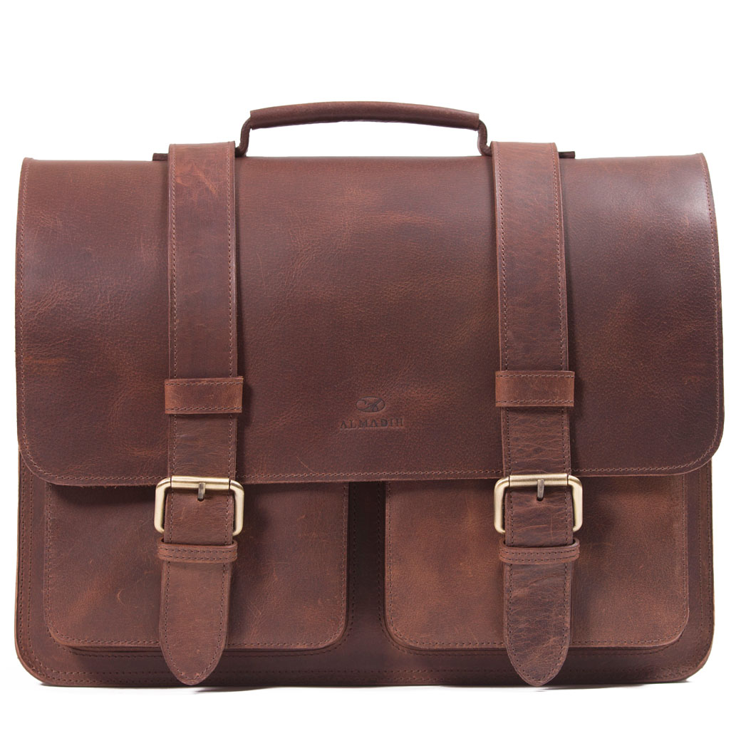 STEVE ALMADIH Leder Aktentasche Braun Vintage