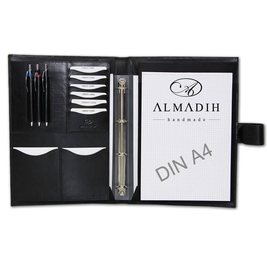 ALMADIH Leder A4 Konferenzmappe Schwarz