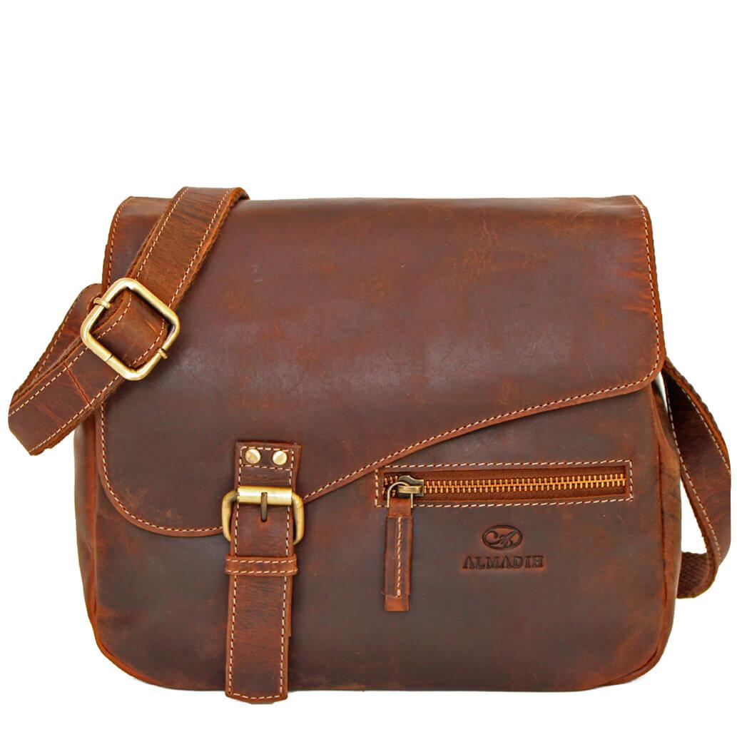 MIKI ALMADIH Leder Damentasche Braun Vintage