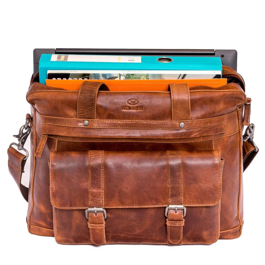 JAN ALMADIH Leder Laptoptasche Braun Deluxe