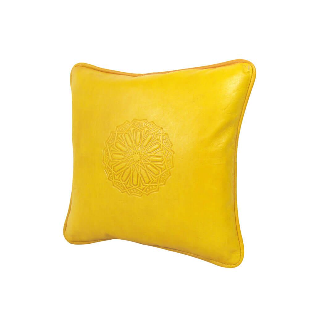 Lederkissen L Gelb ALMADIH Sofakissen