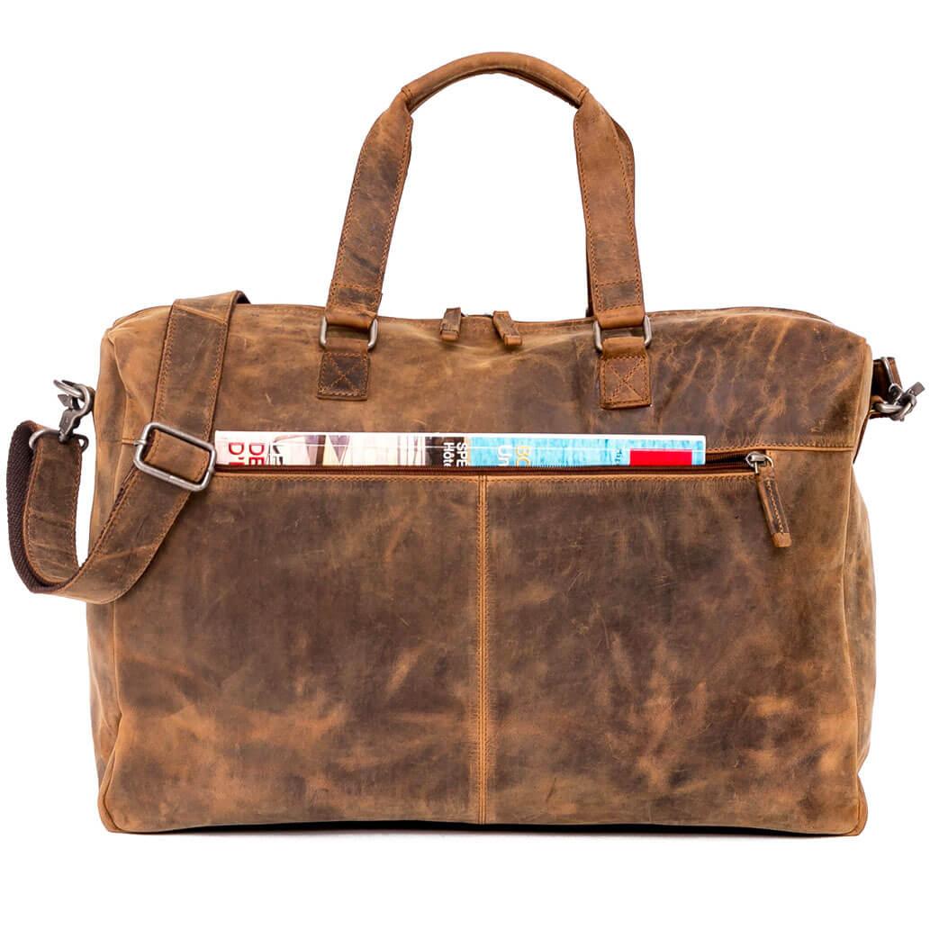KANE ALMADIH Leder Reisetasche Braun Vintage