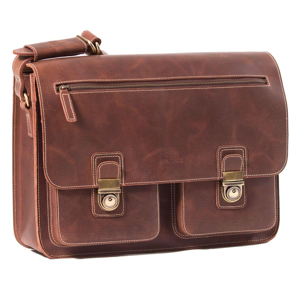 NEIL ALMADIH Leder Aktentasche Braun Vintage