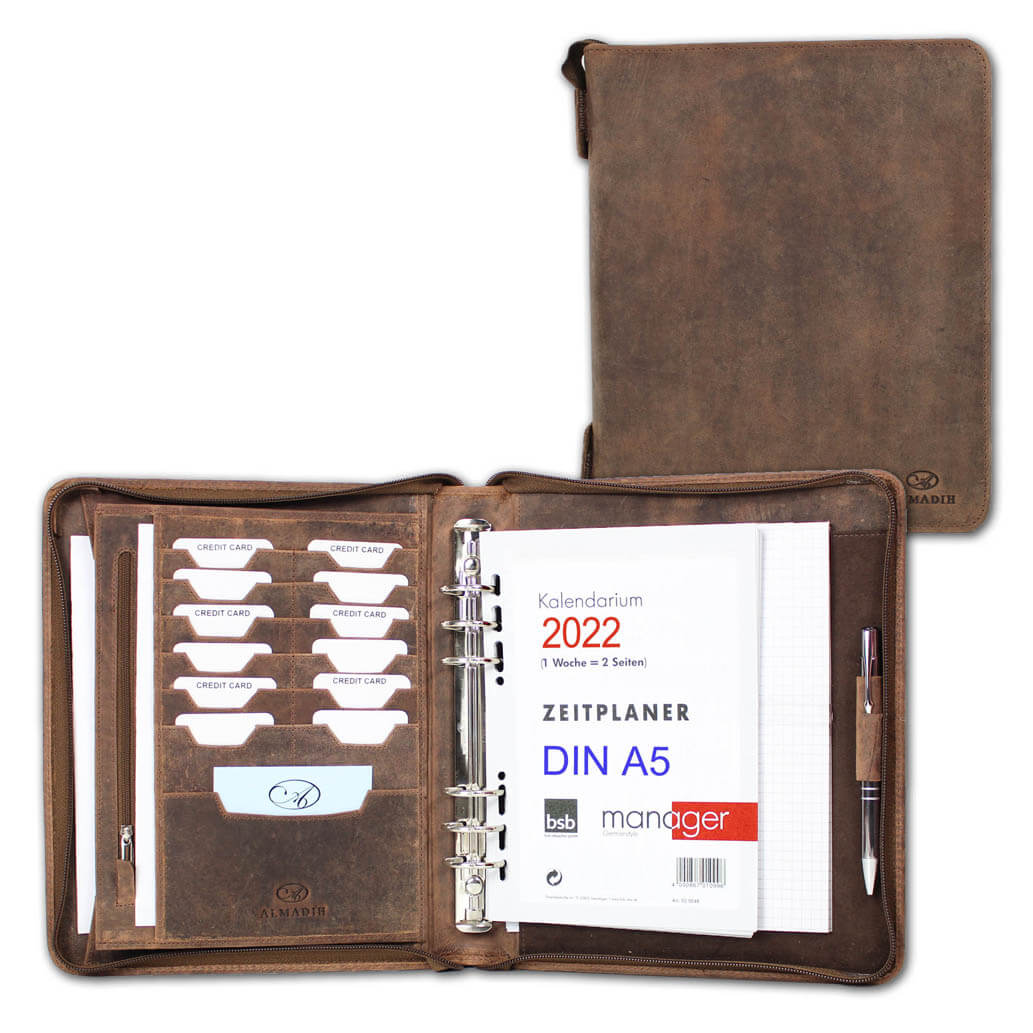 ALMADIH Leder A5 Organizer 2022 mit Reißverschluss Braun Vintage