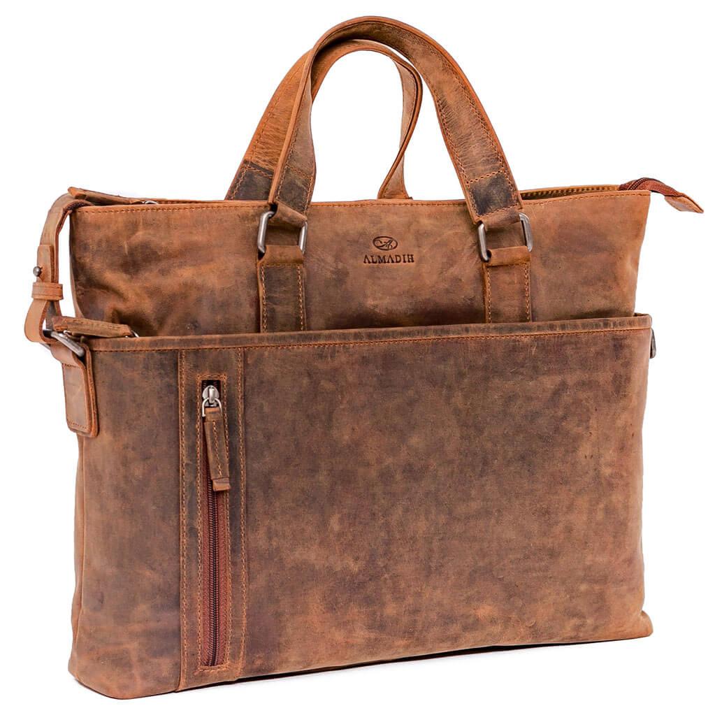 LEO ALMADIH Leder Schultertasche Braun Vintage