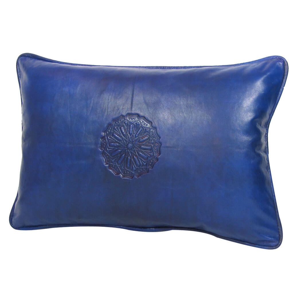 Lederkissen XL Blau ALMADIH Kissen mit Füllung
