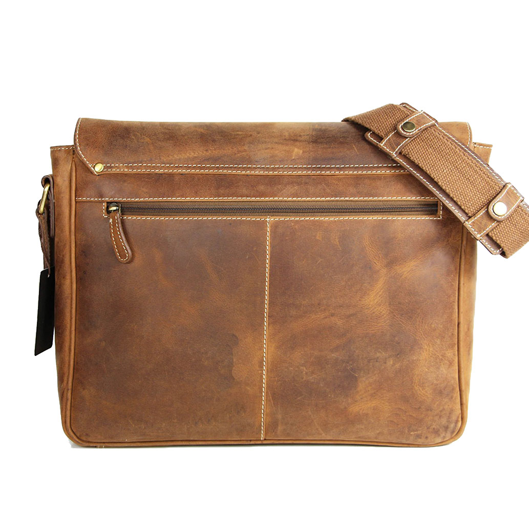 JANNE ALMADIH Leder Laptoptasche Braun Vintage