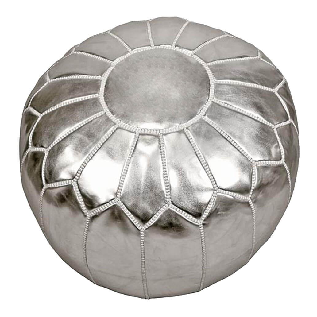 Leder-Sitzkissen Silber ALMADIH Pouf
